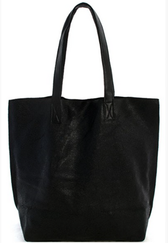 Shiny Black Leather Tote