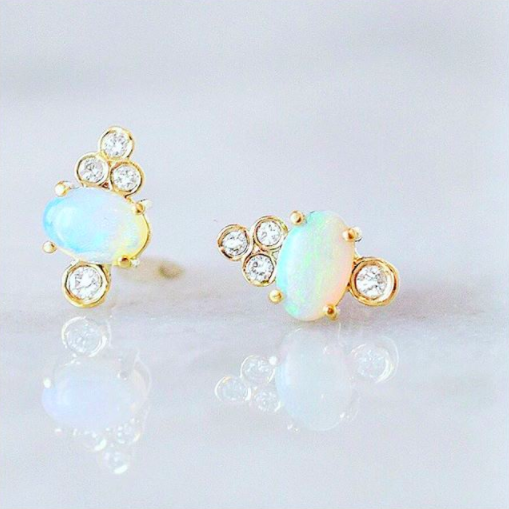 14k Opal and Diamond Sundae Studs