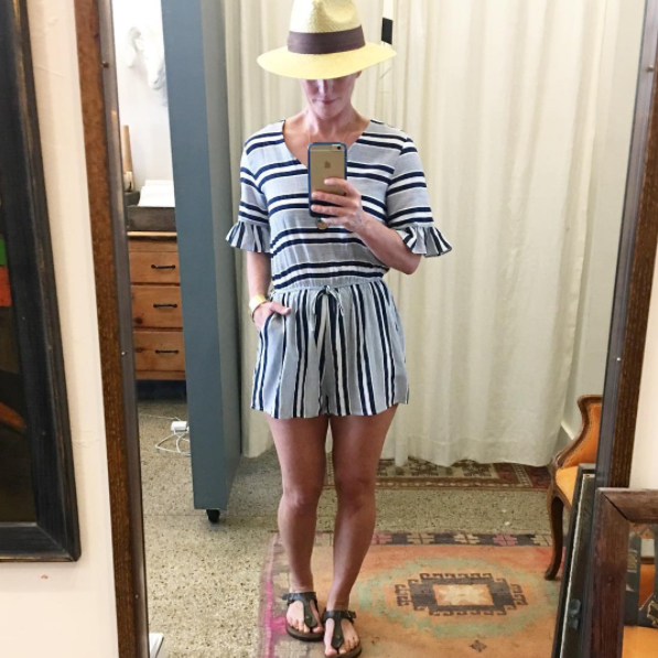 Striped Romper w/ Flare Sleeves
