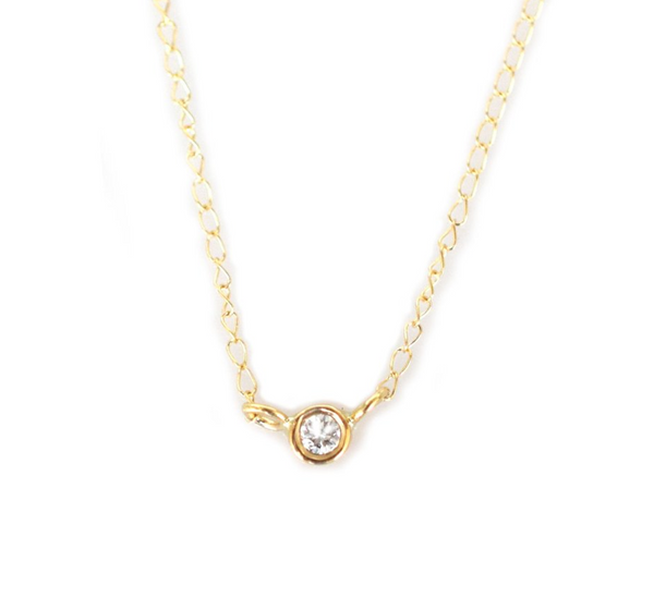 14k Solo Necklace • Diamond