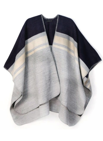 Color Block Ruana Poncho