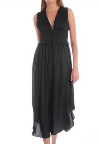 Silky Sleeveless Pleated Dress