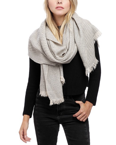 Oblique Oblong Scarf-Grey