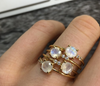 Fiesta Ring • Rainbow Moonstone & Diamond