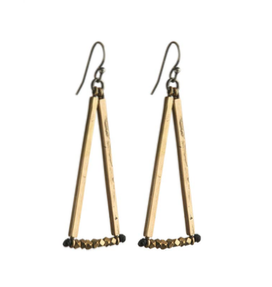 Bronze Rods with Faceted Bead Earrings