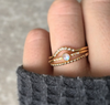 Galaxy Ring • Rainbow Moonstone & Topaz