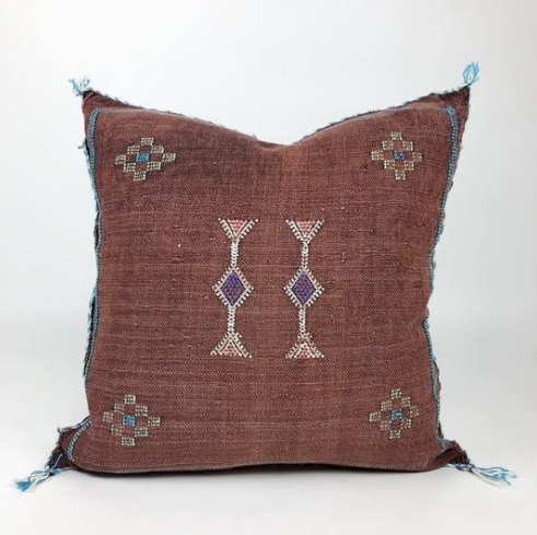 Moroccan Cactus Silk Pillow (Brown)