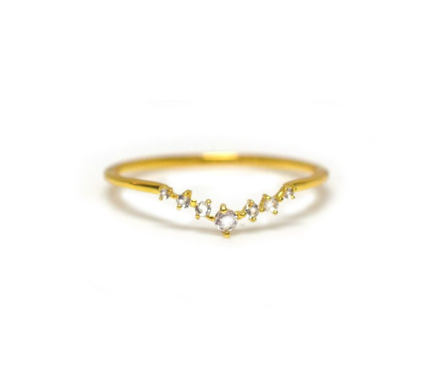 Fairy Dust Arc Ring • White Topaz