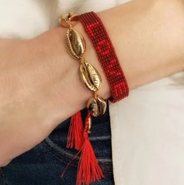 LOVED Beaded Red Bracelet