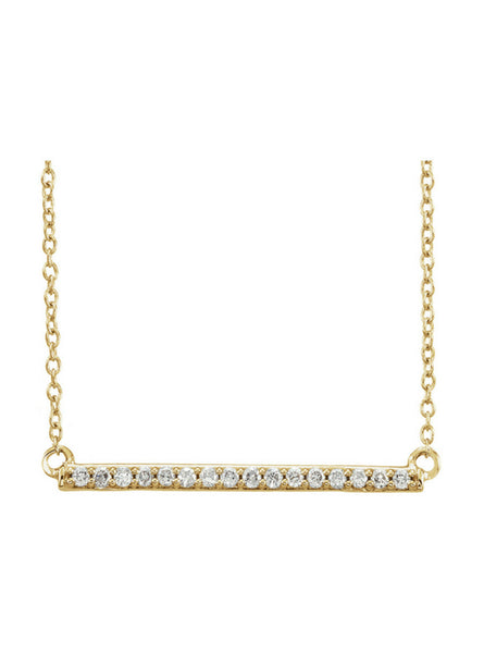 14k Long Bar Necklace with Diamonds