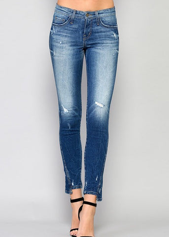Twisted Seam Distressed Denim