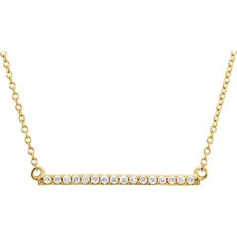 14k Long Bar Necklace w/ Diamonds