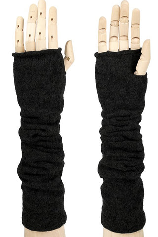 Fingerless Knit Gloves-Black