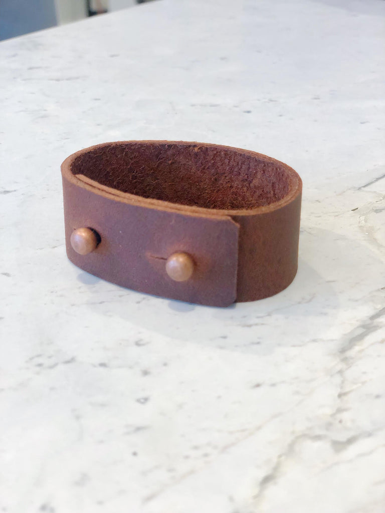 Two Button Leather Cuff with Copper Buttons