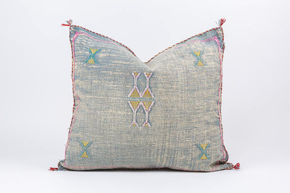 Moroccan Cactus Silk Pillow (Grey)