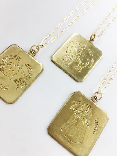 Vintage Brass Zodiac Necklace