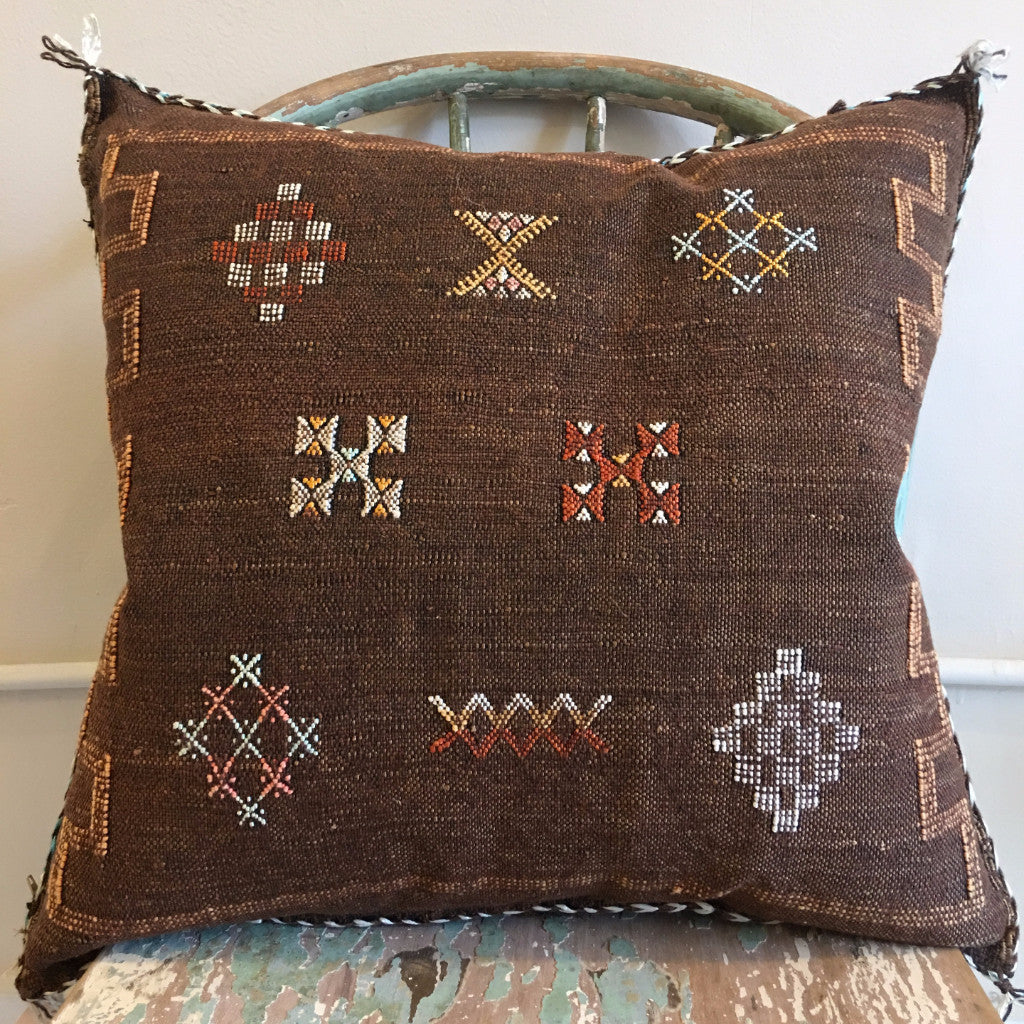 "20"" x 20"" Moroccan Cactus Silk Pillow - Light Brown"