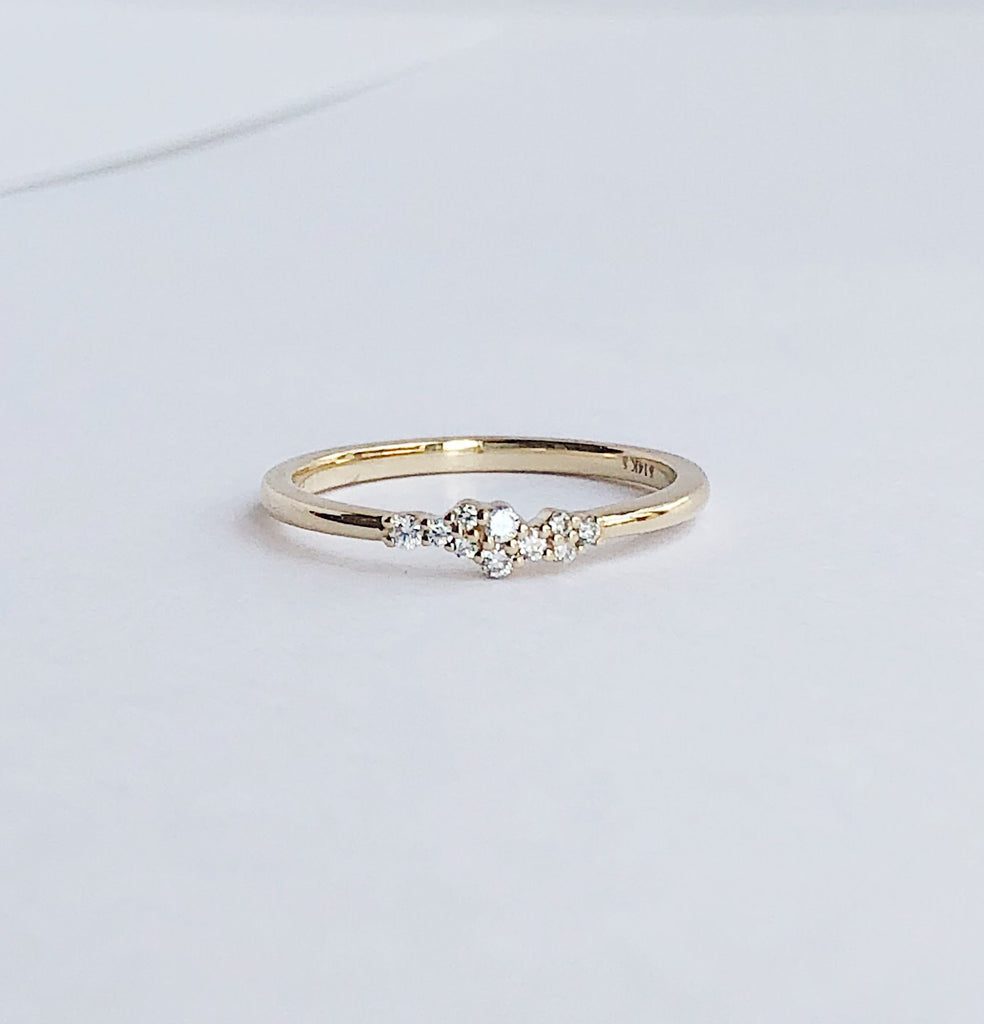 14k Diamond Cluster Band