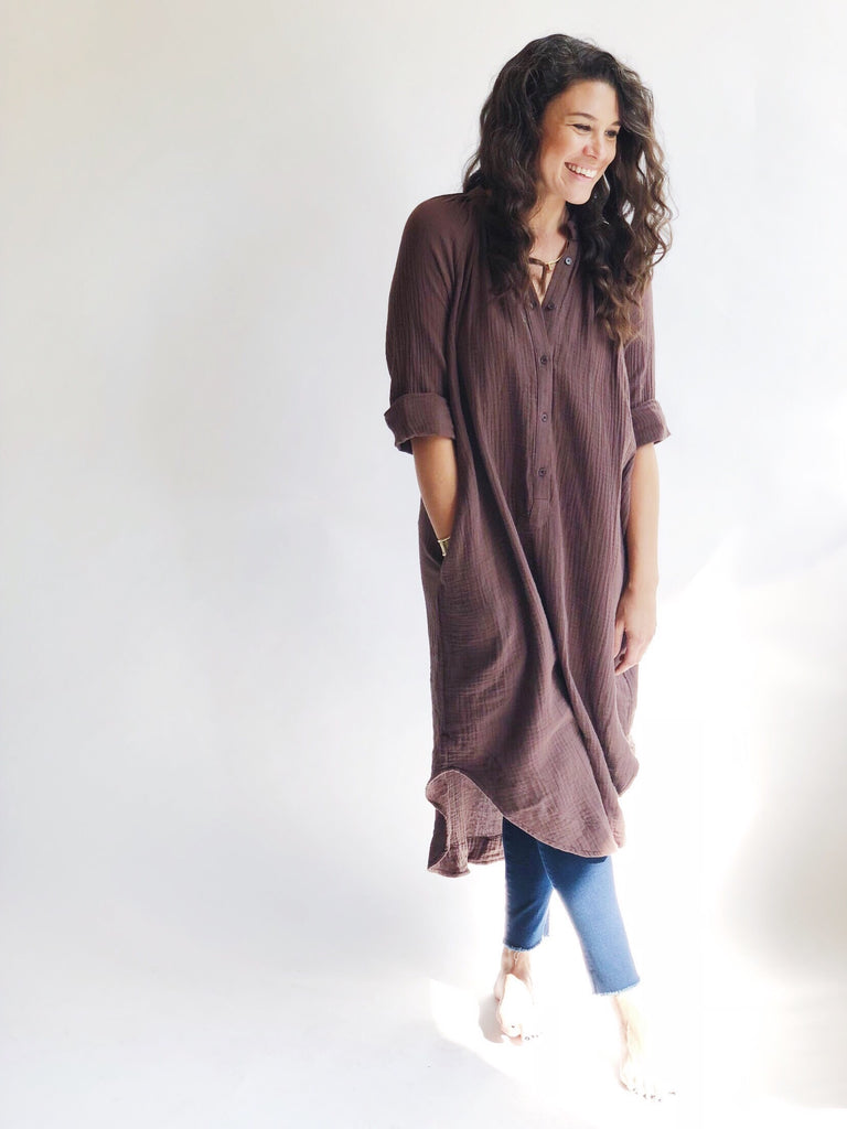 Cotton Weave Shirt Dress