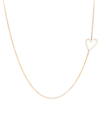 Offset Open Heart Necklace