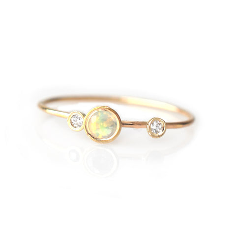 14k Opal and Diamond Adele Ring
