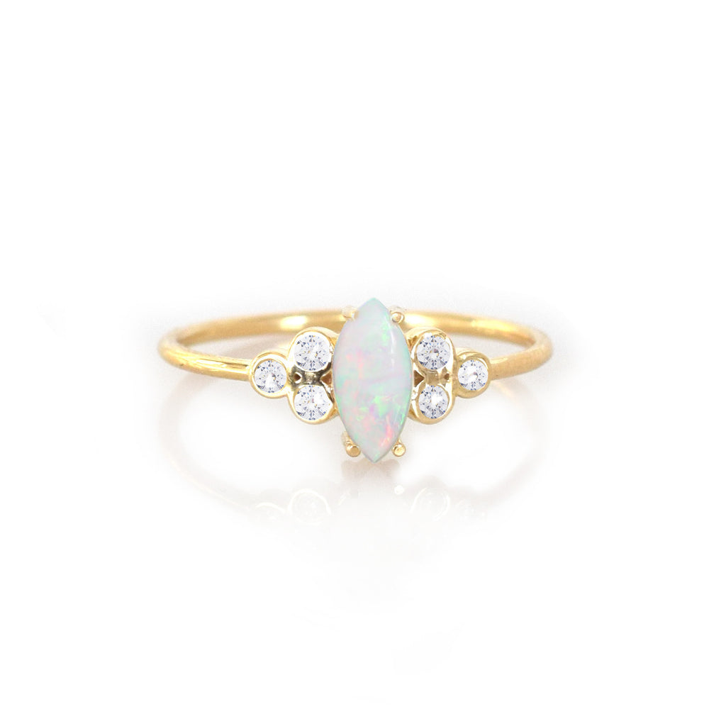 14k Opal and Diamond Mystic Ring