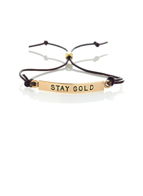 """Stay Gold"" Leather Bracelet"