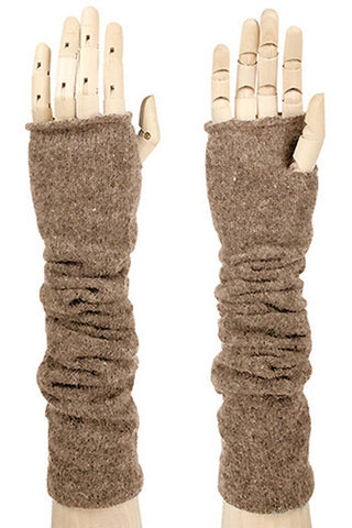 Fingerless Knit Gloves-Taupe