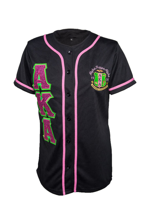 AKA DriFit Baseball Jersey with embroidered Glitter letters