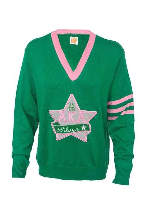 AKA Classic Vneck Sweater with Silver Star Chenille Patch