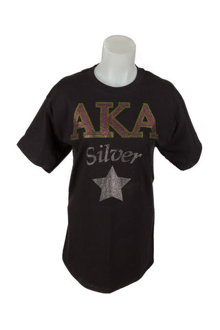 AKA Ladies cut T-shirt with Bling Silver Star design