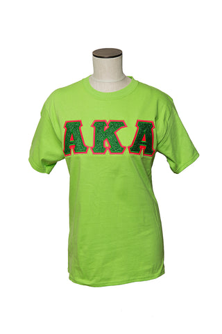 AKA Green Glitter flake Applique shirt