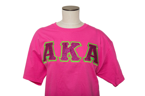 AKA Hot Pink Glitter flake Applique shirt