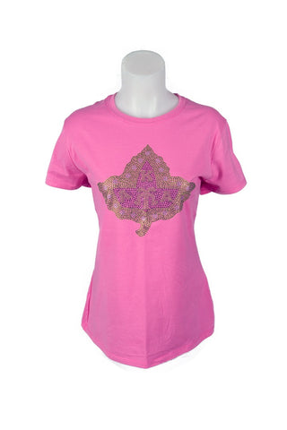AKA Pink T-shirt with Bling Ivy Leaf design