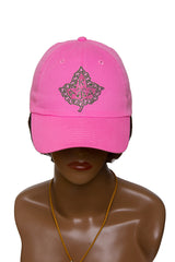 AKA Pink Hat with Bling Ivy Leaf