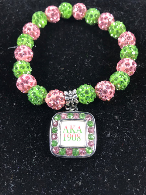 AKA Pink and Green Crystal Sparkle Bracelet with 1908 Square charm