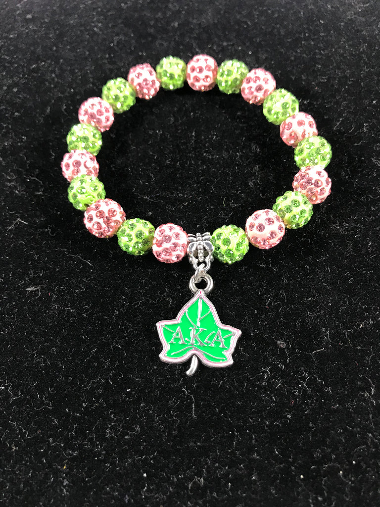 AKA Pink and Green Crystal Sparkle Bracelet W/Ivy