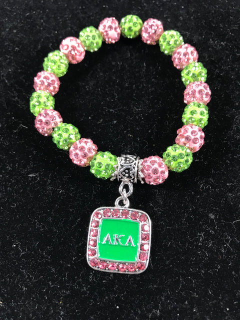 AKA Pink and Green Crystal Sparkle Bracelet Square charm
