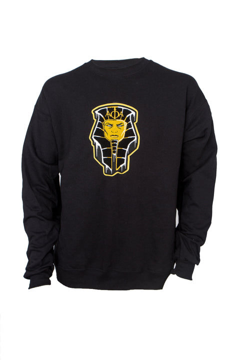 Alpha Black Crewneck Sweatshirt with Frozen Pharaoh Chenille