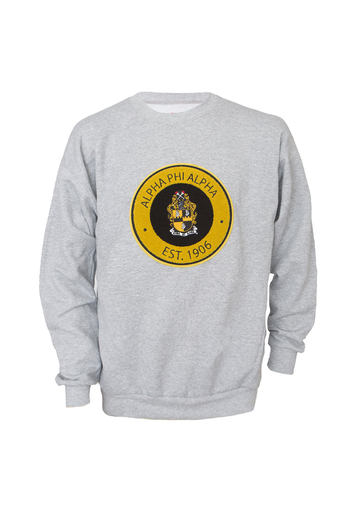 Alpha Phi Alpha Gray Crewneck Sweatshirt with Round Chenille