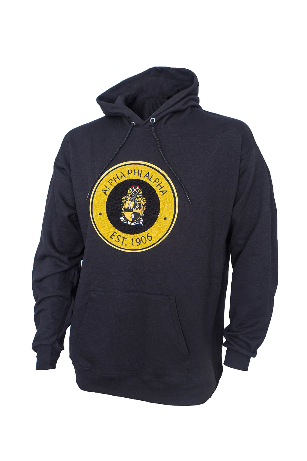 Alpha Hoodie with Round Chenille Patch