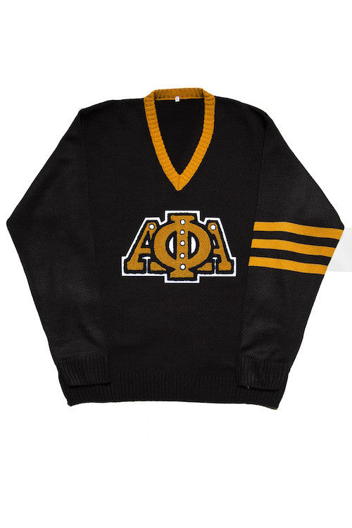 Alpha Phi Alpha Black V-Neck Sweater