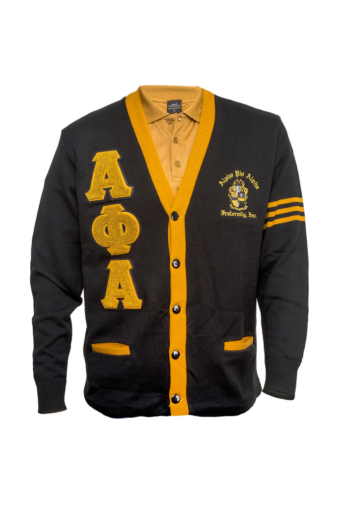 Alpha Black and Old Gold Cardigan Sweater