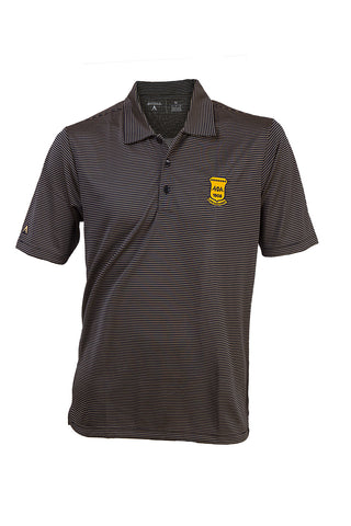 Alpha Life Member Black and Old Gold Stripe Polo Shirt - High Quality Antigua Brand Dri-Fit shirt