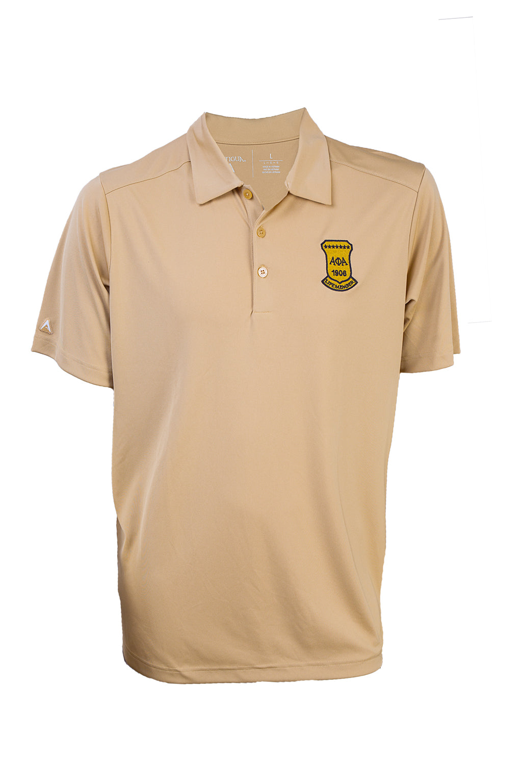 Alpha Life Member Old Gold Polo Shirt - High Quality Antigua Brand Dri-Fit shirt