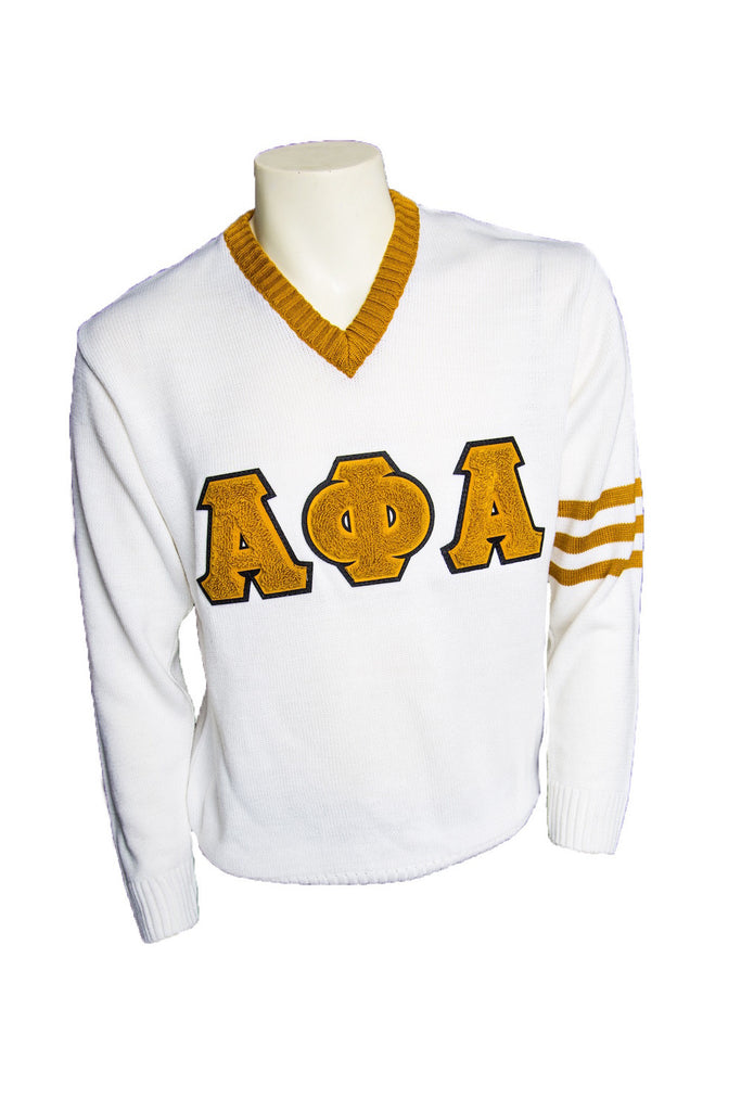 Alpha White V-neck Sweater with Chenille Letters