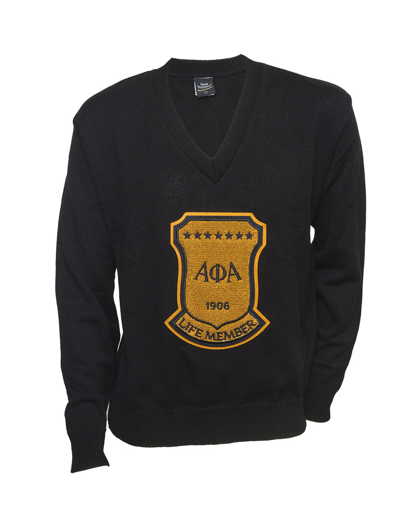 Alpha Black Old School Life Member Vneck Sweater