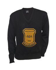 Alpha Black Old School Vneck Sweater