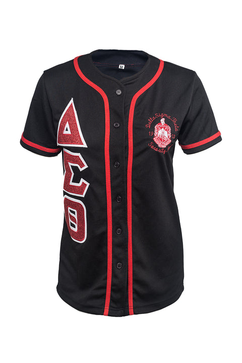 Delta Sigma Theta DriFit Baseball Jersey with embroidered Glitter letters