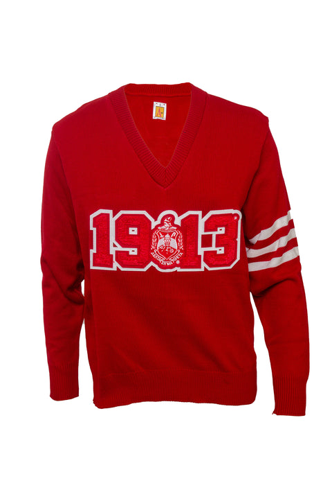 Delta Sigma Theta Red 1913 V-neck Shield Sweater